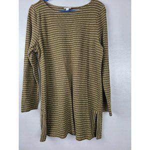 J Jill Brown Striped Long Sleeve Tunic top Size XL